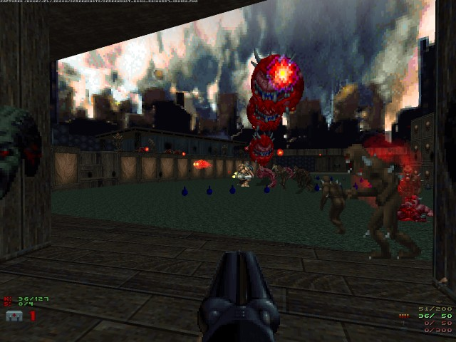 Doom 2 screenshot with lots of enemies