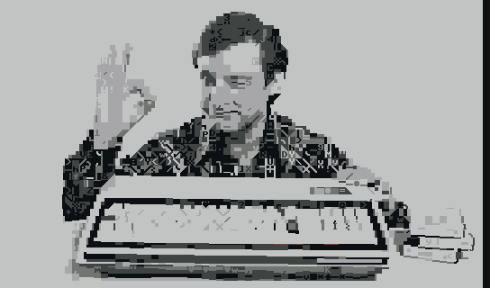 output image: Exidy Sorcerer ad, PETSCII character set, C64 palette