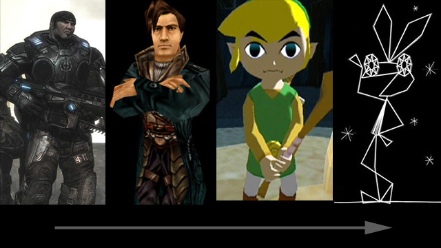 gradient of stylization: Gears of War -> Anachronox -> Legend of Zelda: the Wind Waker -> Vib Ribbon